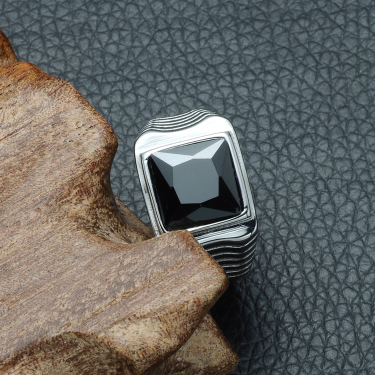 Mens Shark Gills Black Simulated Diamond Silver Stainless Steel Hip Hop Ring