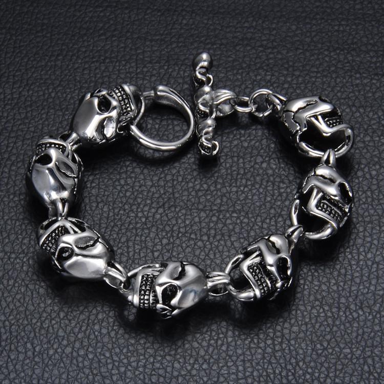 Mens Skeleton Skull Link 316L Stainless Steel Biker Style Bracelet