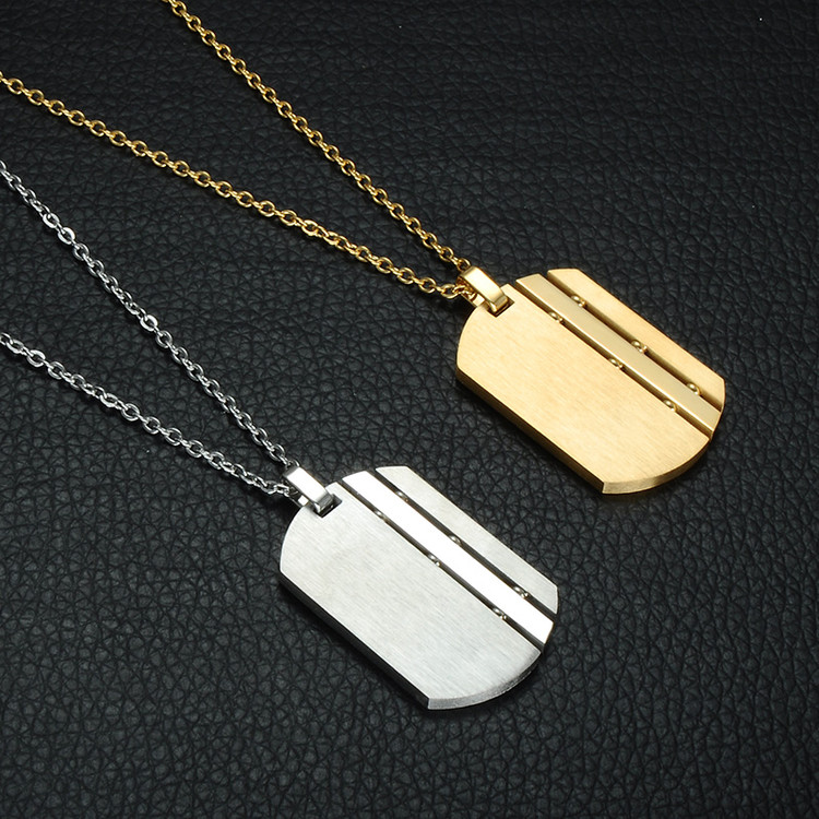 Mens 14k Gold Square 316L Stainless Steel Dog Tag Chain Necklace