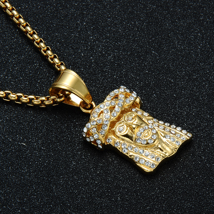 Mens 14k Gold Titanium Stainless Steel Iced Out Bling Jesus Piece Pendant