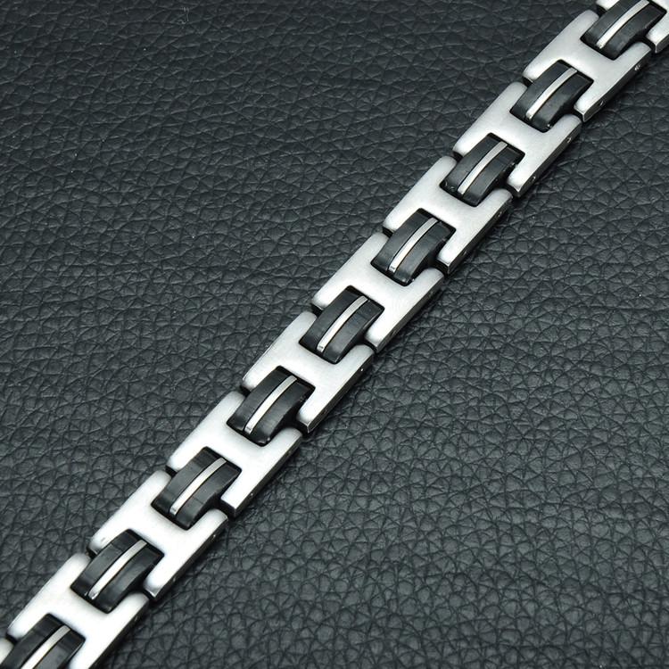 Casual Hip Hop 316L Stainless Steel 21cm Black Germanium Bracelet