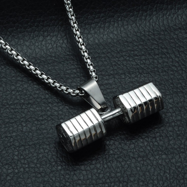 Mens Silver Titanium Stainless Steel GO FIT Dumbbell Gym Fitness Barbell Pendant