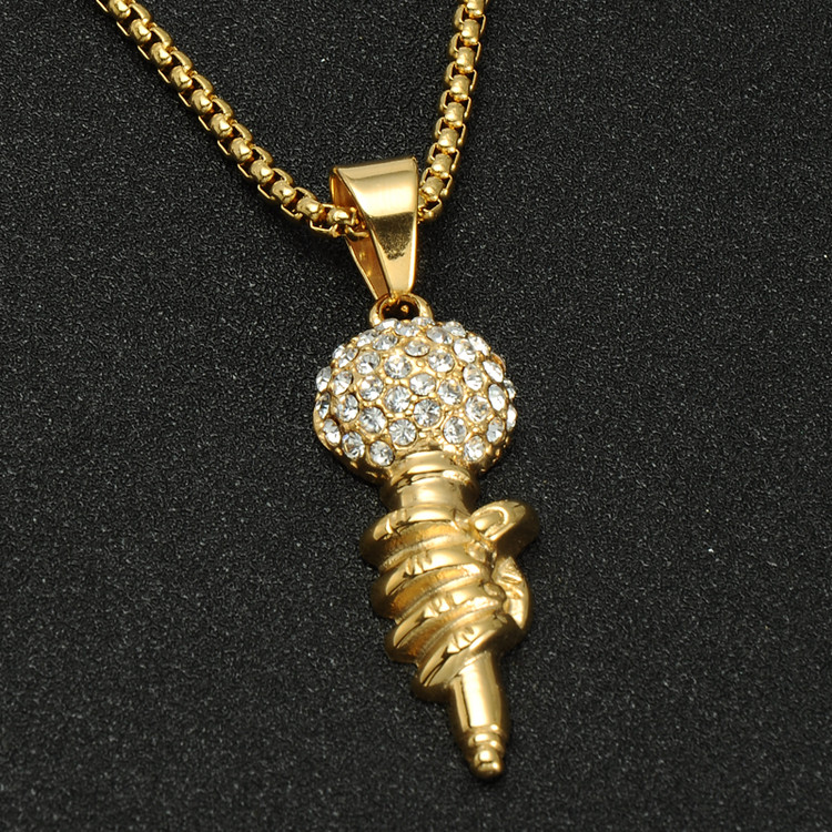 Mens Hip Hop Titanium Stainless Steel Chain One Mic Microphone Iced Out Pendant