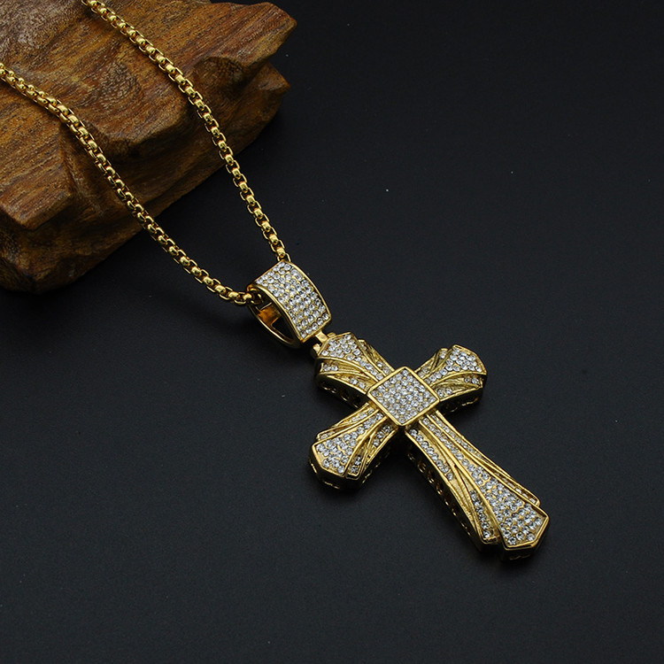 Hip Hop Micro Pave Full Simulated Diamond Titanium Stainless Steel Iced Out JESUS Cross Pendant