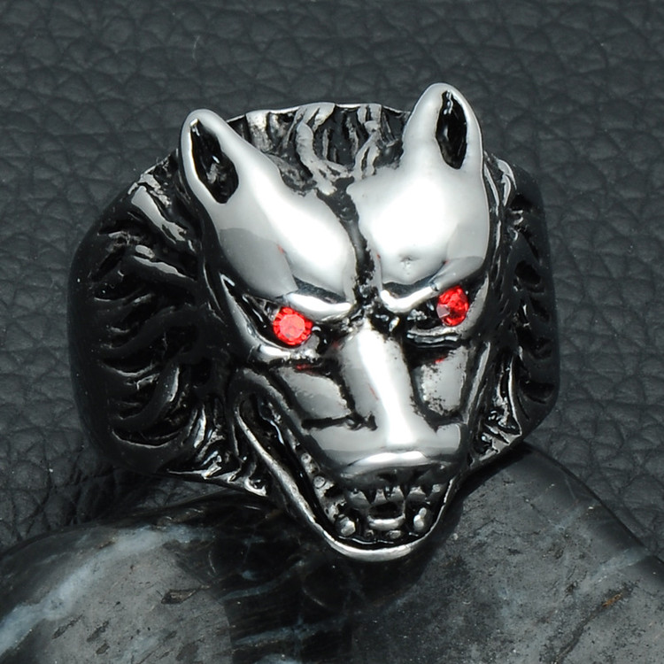 Mens Big Bad Wolf Head 316L Stainless Steel Hip Hop Animal Ring