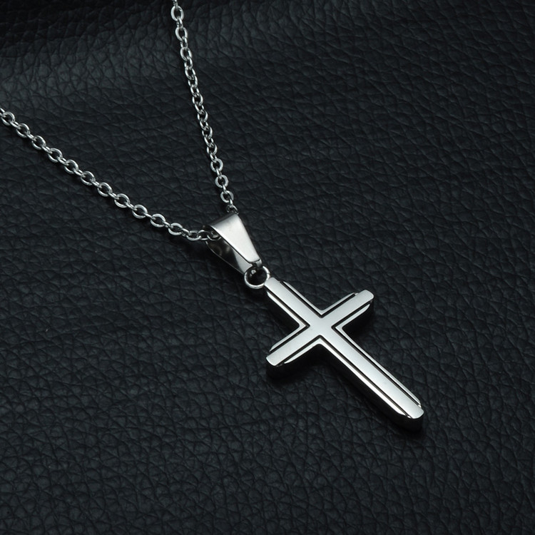Ladies Silver Stainless Steel Classic Christian Cross Necklaces