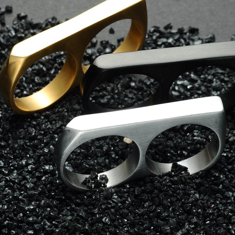 Mens Hip Hop 14k Gold Two Finger Titanium Stainless Steel Ring