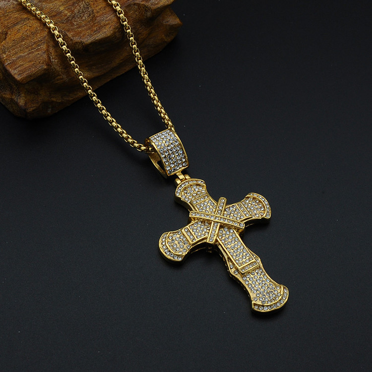 Hip Hop Micro Pave Full Simulated Diamond Stainless Steel Iced Out Ribbon Cross Pendant