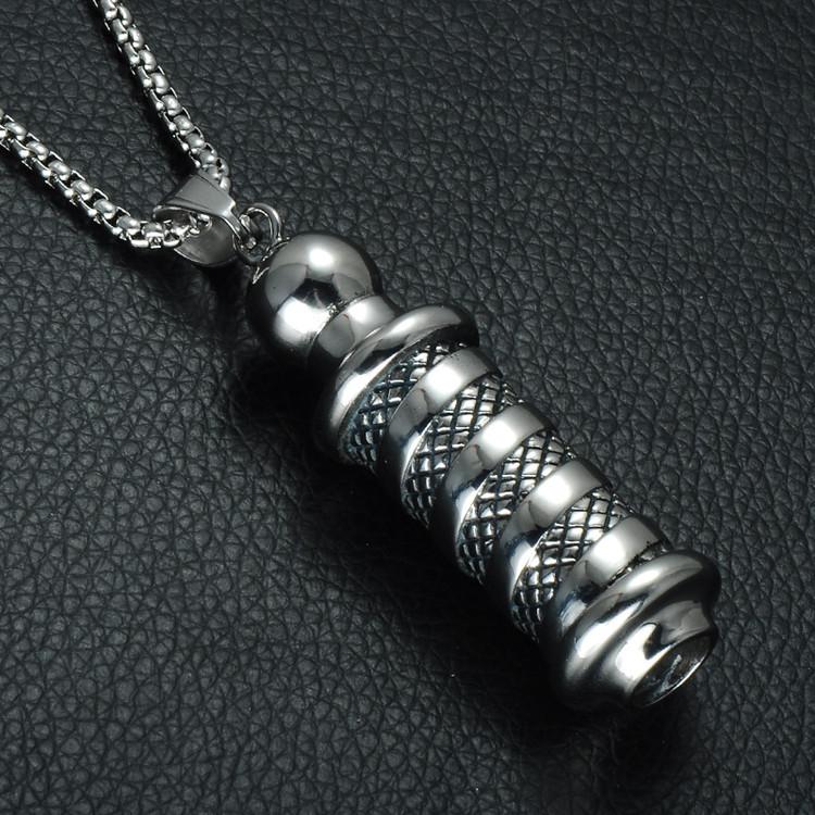 Mens Titanium Stainless Steel Tibetan Buddhism Prayer Chain Pendant