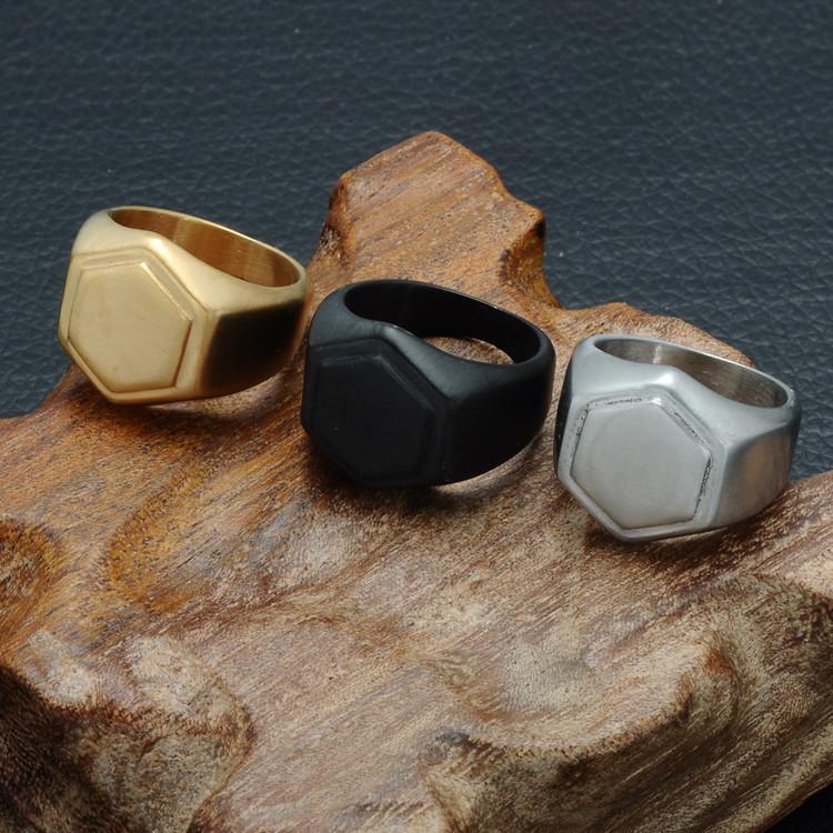Mens Silver Titanium Stainless Steel Geometric Hexagonal Ring