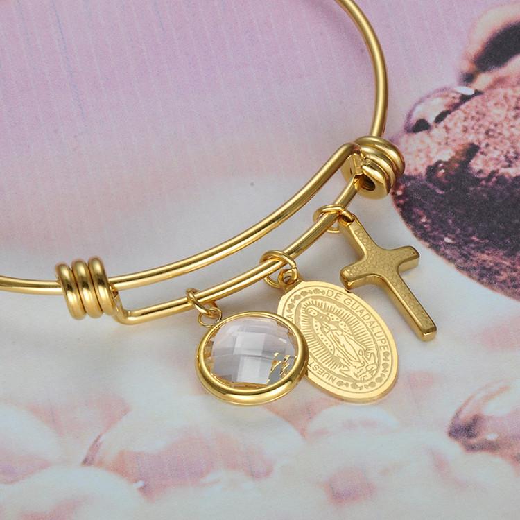 14k Gold Ladies Virgin Mary Stainless Steel Prayer Cross Bracelet