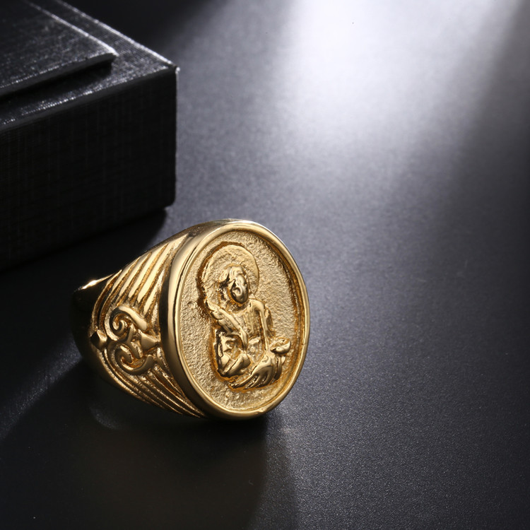 Men's Benevolent Virgin Mary 14k Gold Filled Titanium Stainless Steel Ring
