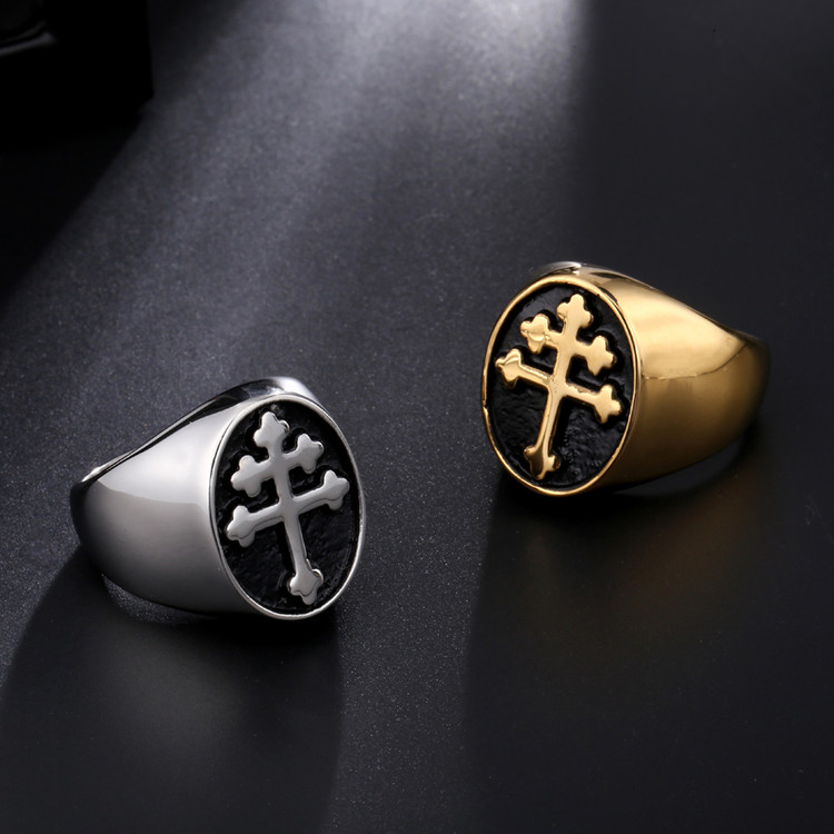 Mens 14k Gold Silver Titanium Stainless Steel Lorraine Cross Ring