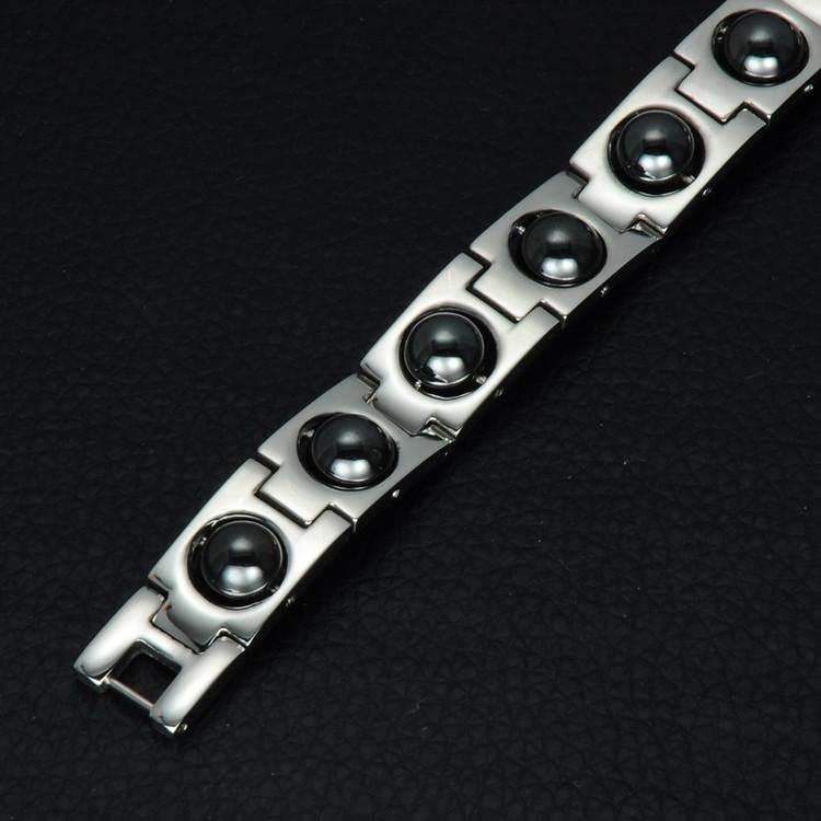 Mens Black Round Germanium Magnet 21CM Stainless Steel Bio Energy Bracelet