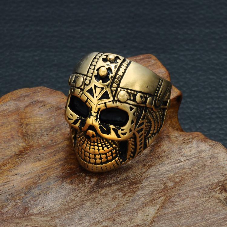 Mens Unique Biker Black Gold Titanium Stainless Steel Skeleton Skull Ring