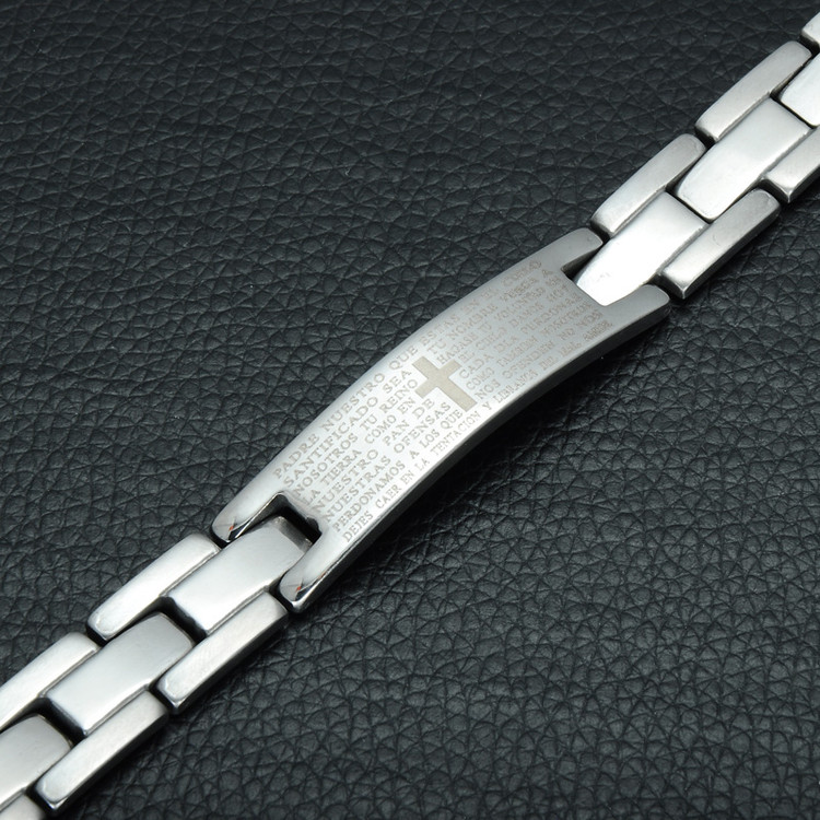 Mens Bible Verse Cross Prayer Silver Stainless Steel Link Chain Bracelet