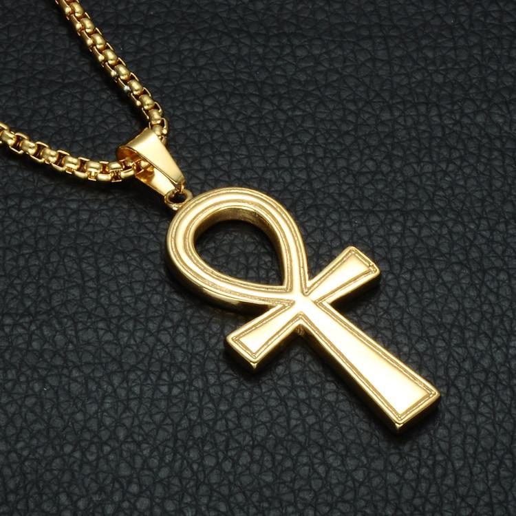 Stainless Steel Egyptian Ankh 14k Gold Cross Chain Pendant