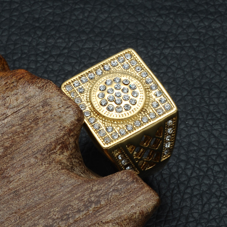 14k Gold HIP Hop Micro Pave Lab Stone Bling Gold Geo Square Titanium Stainless Steel Ring
