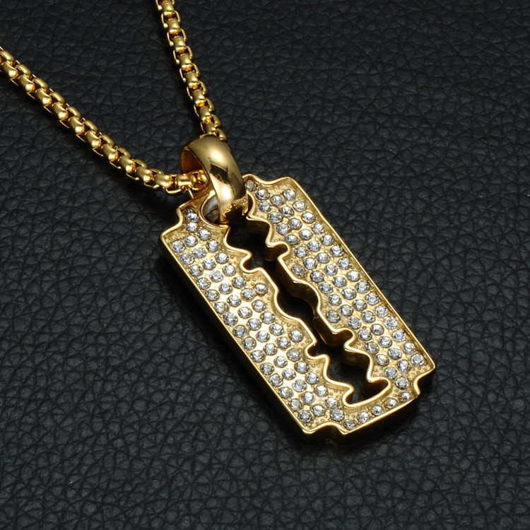 Hip Hop 14k Gold Iced Out Micro Pave Lab Diamond Stainless Steel Razor Blade Chain Pendant