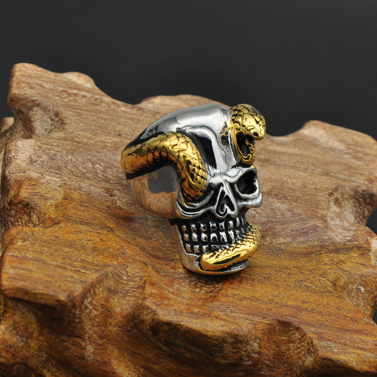 Mens Titanium Stainless Steel Two Tone Gold Snake Skull Ring