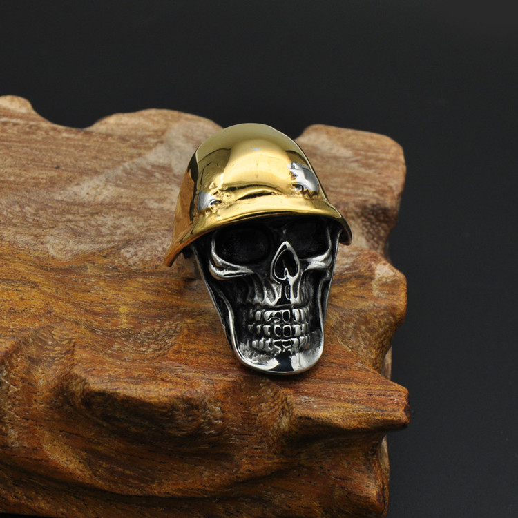 Titanium Stainless Steel Two Tone Gold Soldier Skull Skeleton Ring