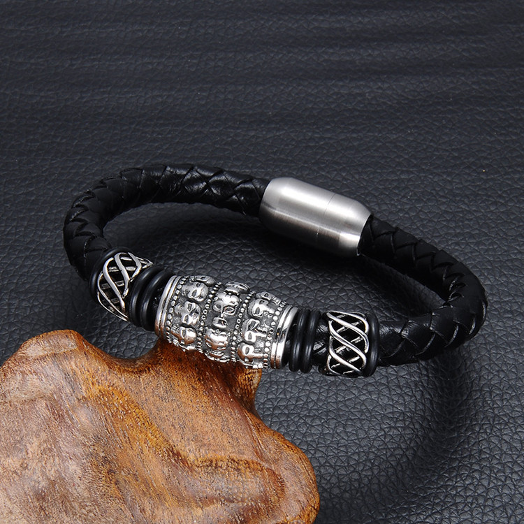 Mens Black Genuine Leather Ghost Skull Stainless Steel Magnet Buckle Weave Bracelet