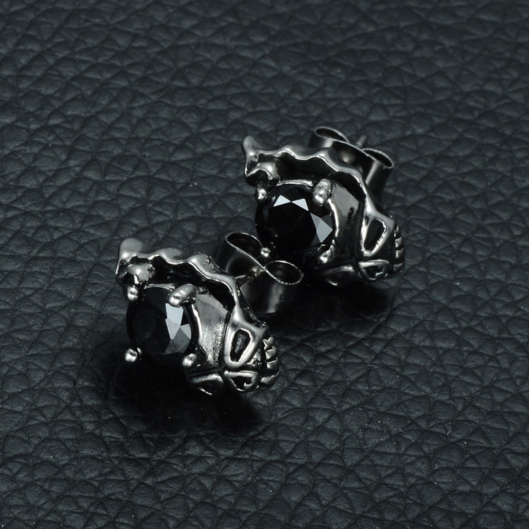Mens Black Simulated Diamond Skeleton Skull Stainless Steel Earrings