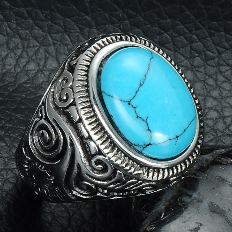 Mens Unique Turquoise Heavy Metal Casting Titanium Stainless Steel Ring