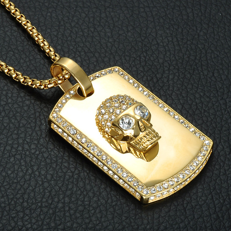 Iced Out Bling Skeleton Skull Titanium Stainless Steel 14k Gold Dog Tag Pendant