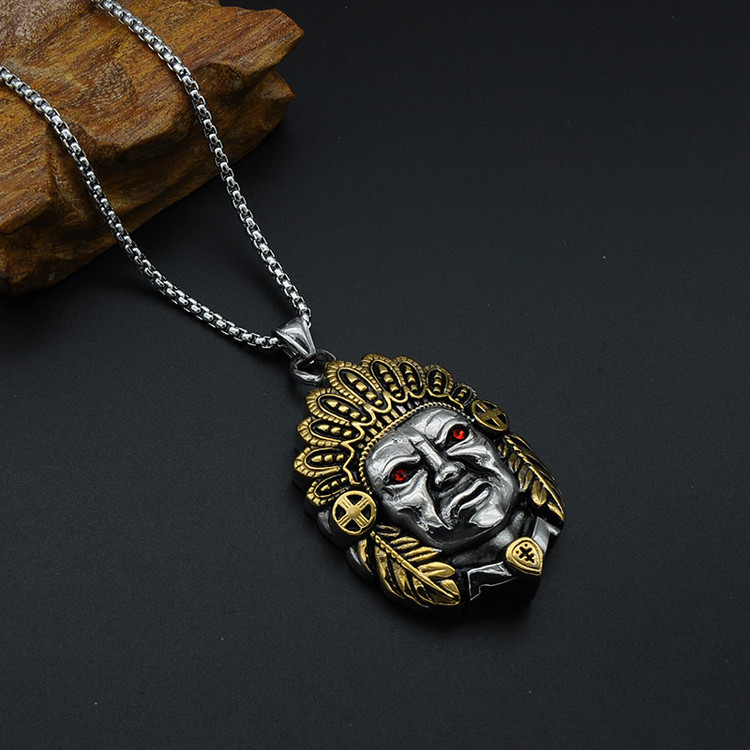 Titanium Stainless Steel Two Tone Gold Ancient Mayan Chief Chain Pendant