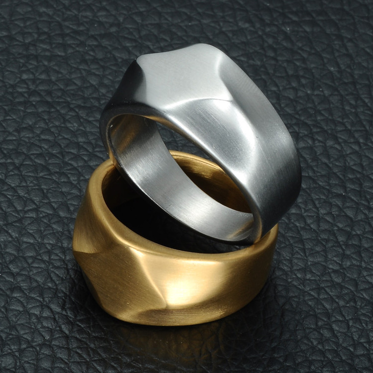Mens 14k Gold Titanium Stainless Steel Classic Square Ring