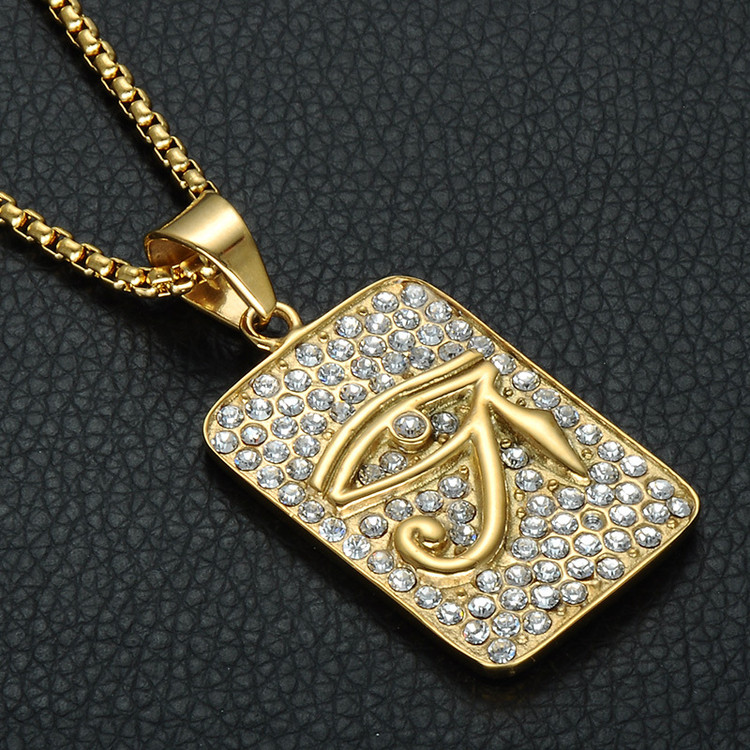 Mens Bling Iced Out Simulated Diamond Eye of Horus 316L Stainless Steel Dog Tag Chain Pendant