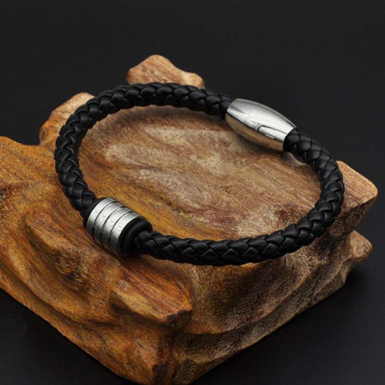 Black Knit Genuine Leather Mens Stainless Steel Magnet Bead Bracelet
