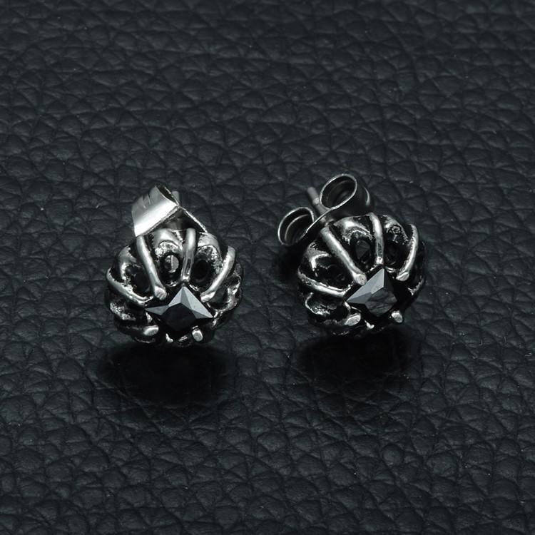 Mens Stainless Steel Princess Cut Black Simulated Diamond Earrings