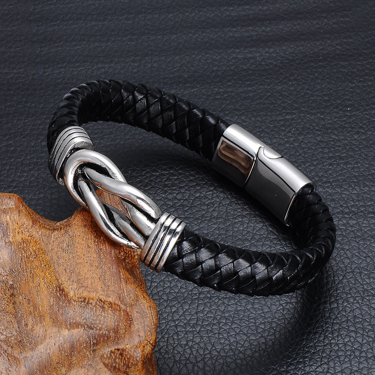 Black Genuine Leather Braided Mens Stainless Steel Magnet Bracelet
