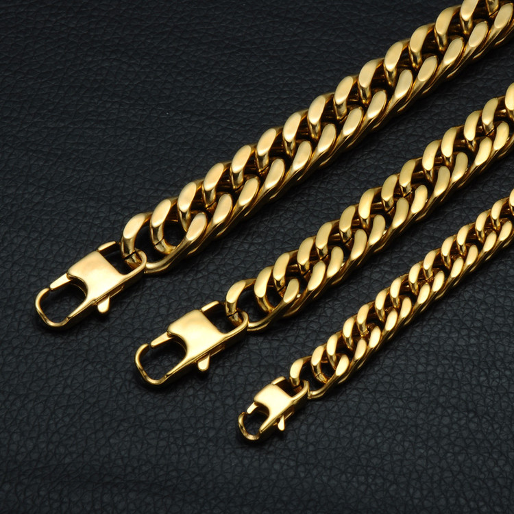 Hip Hop Heavy Double Layer Stainless Steel Miami Cuban Link 14k Gold Bracelet