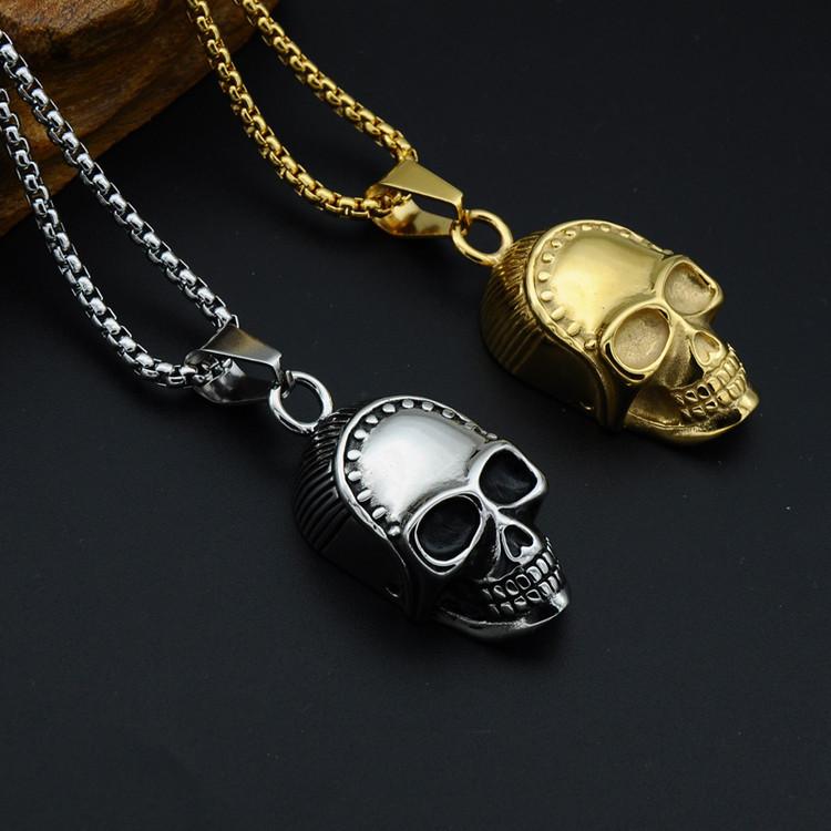 Mens 14k Gold Titanium Stainless Steel Skeleton Skull Pendant Necklace