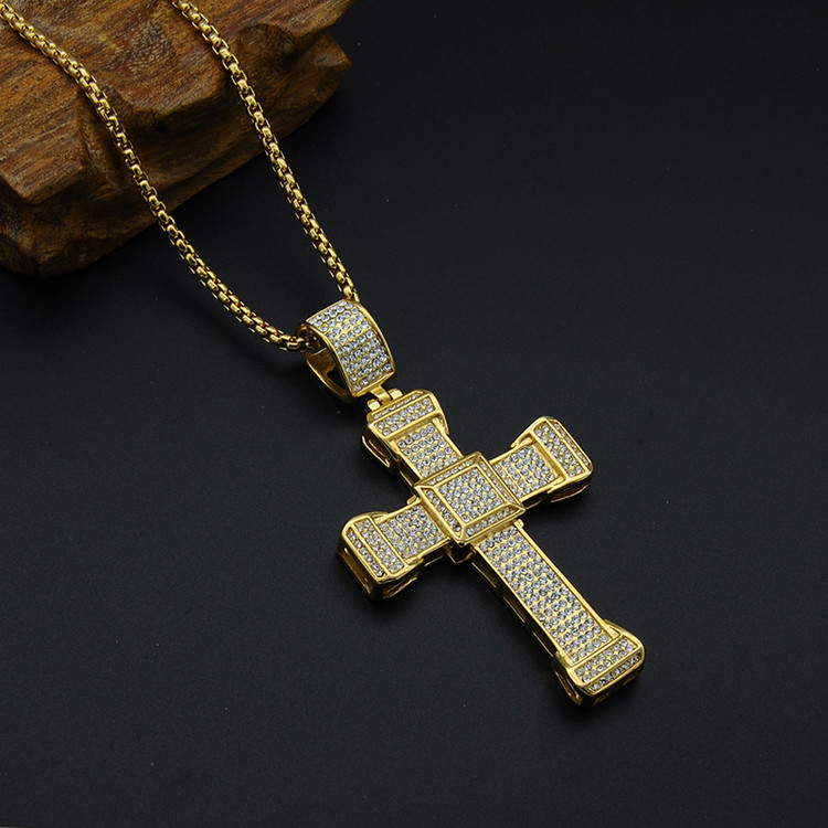 Hip Hop Micro Pave Full Simulated Diamond Titanium Stainless Steel Iced Out JESUS Cross Chain Pendant