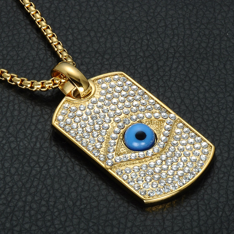Iced Out Lab Diamond Illuminati Pyramid Eye Pendant Bling 14k Gold Titanium Dog Tag Necklace