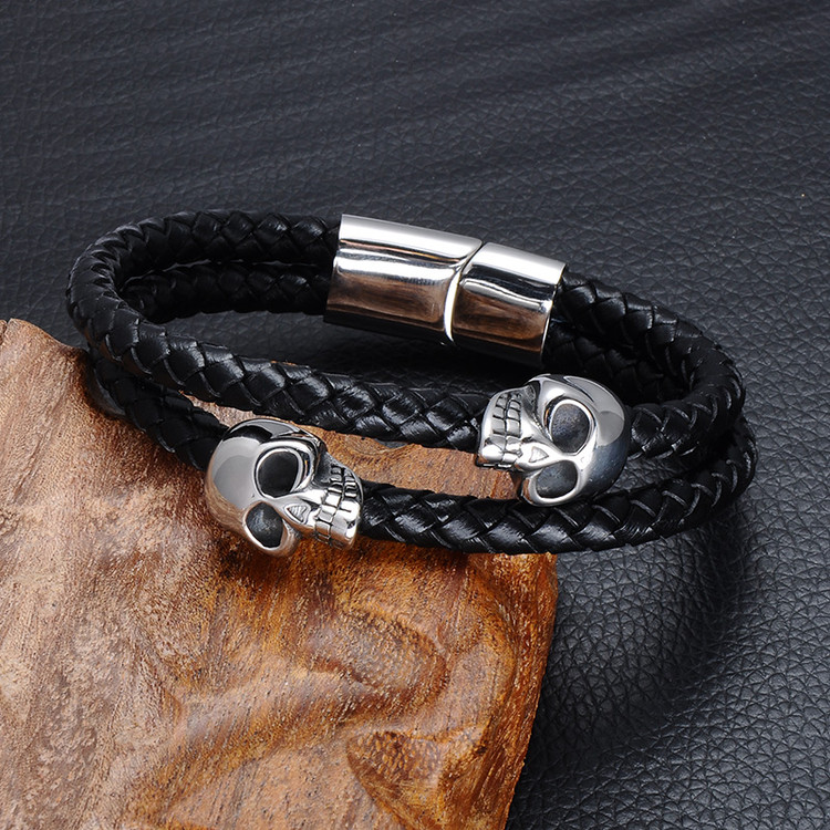 Mens Double Layer Black Genuine Leather Stainless Steel Skull Buckle Bracelet