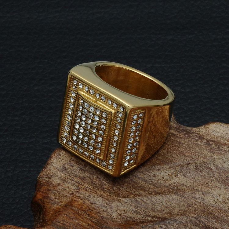 Hip Hop Micro Pave Simulated Diamond Square Cut Iced Out Bling 14k Gold Titanium Ring