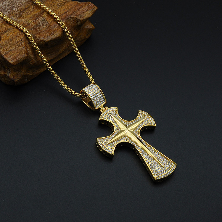 Hip Hop Micro Pave Lab Diamond Titanium Stainless Steel Iced Out Brilliant Cross Pendants Necklaces for Men Jewelry