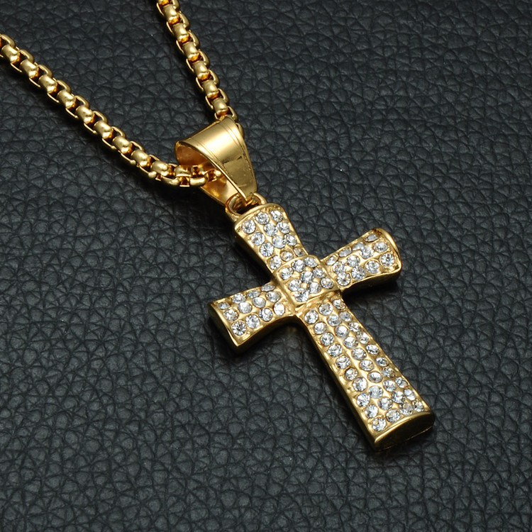 Iced Out Micro Pave 14k Gold Stainless Steel Center Square Hip Hop Cross Chain Pendant