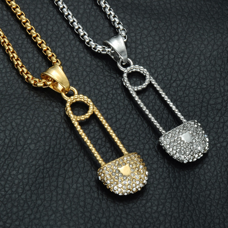 Iced Out Safety Pin Hip Hop 14k Gold Silver Stainless Steel Titanium Lab Diamond Pendant