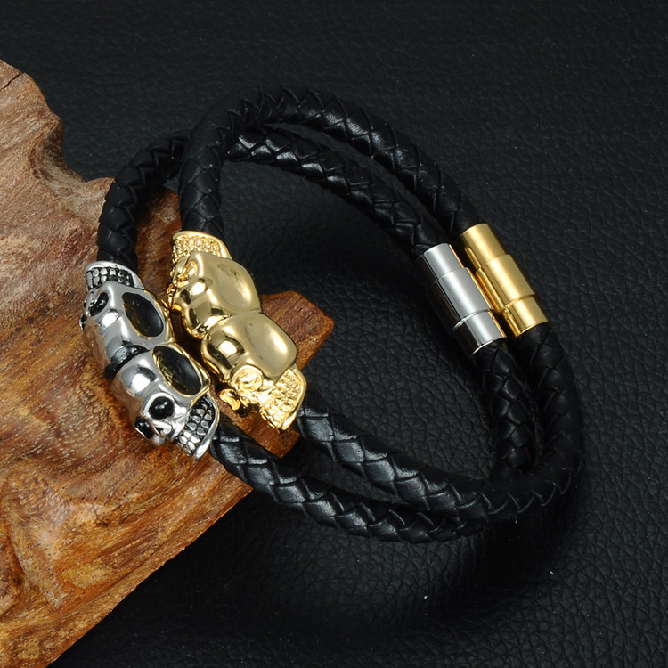 Mens Double Skull Head Stainless Steel Black Genuine Leather Bracelet