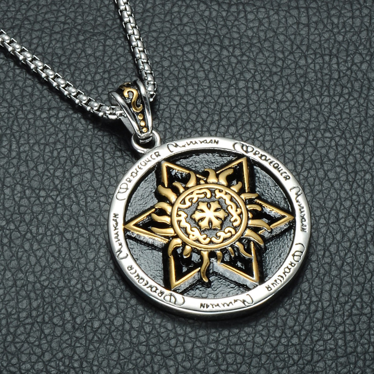 Mens Star of David 316L Stainless Steel Hexagram Round Sun Pendant Chain Necklace