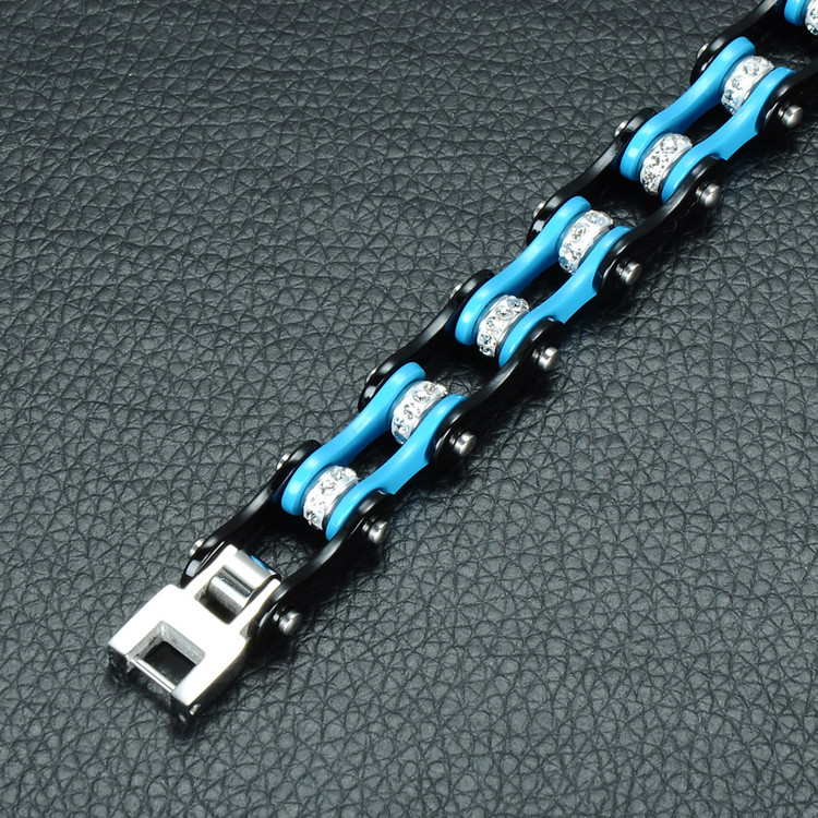 Men's Stainless Steel Bicycle Motorcycle Blue Ice Chain Bracelet