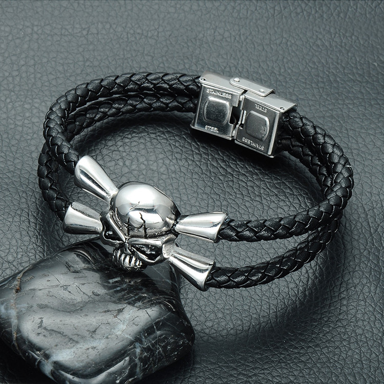 Mens Stainless Steel Magnet Buckle Double Layer Black Skull Bracelet