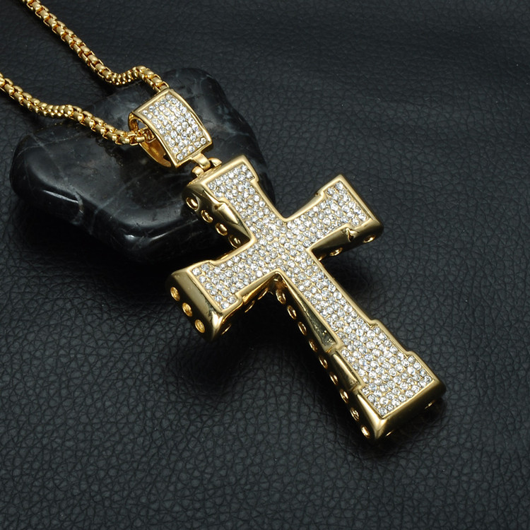 Hip Hop Micro Pave Lab Diamond 14k Gold Titanium Stainless Steel Cross Pendant Chain Necklace