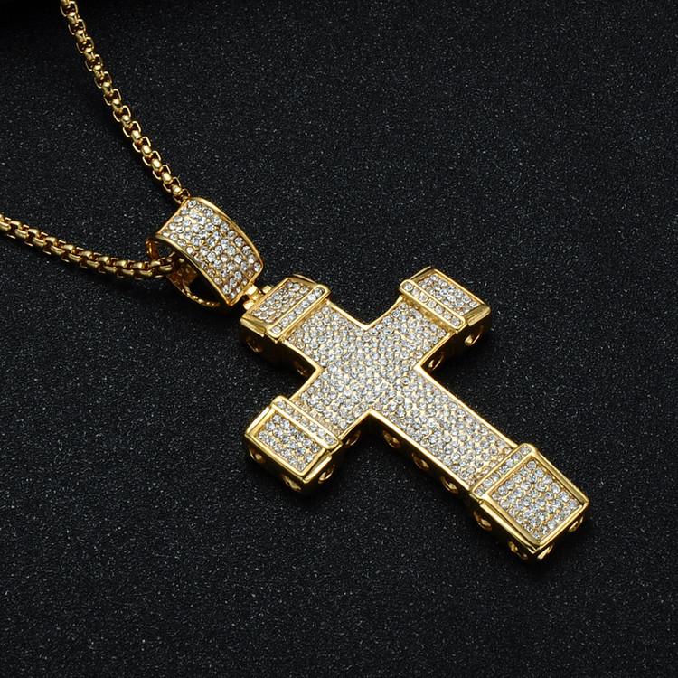 Mens Hip Hop 14k Gold Titanium Stainless Steel Micro Pave Cross Pendant